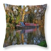 Narrow Boat On Wey Navigation - P4a16008 Throw Pillow