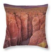 Narrow Canyon And Volcan Licancabur, Atacama Desert, Chile At Su Throw Pillow