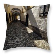Narrow Cobblestone Alley Ribji Trg Or Fish Square From Cankar Qu Throw Pillow
