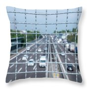 Narrow Depth Of Field Looking Down From Railing Onto Busy Highway Throw Pillow