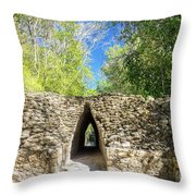 Narrow Passage In Becan, Mexico Throw Pillow
