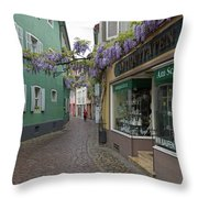 Narrow Street In Freiburg Throw Pillow