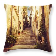 Narrow Street In Old Town Dubrovnik Throw Pillow