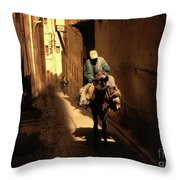 Narrow Streets Fes Male Donkey  Throw Pillow