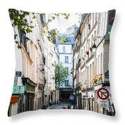 Narrow Streets Of The Latin Quarter In Paris, France Throw Pillow
