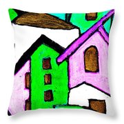 Narrow Village Throw Pillow