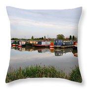 Narrowboats At Barton Marina Throw Pillow