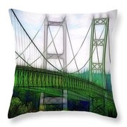 Narrows Bridge Abstract Throw Pillow