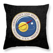 N A S A Emblem Over Black Velvet Throw Pillow