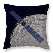 Nasas Dawn Spacecraft Orbiting Throw Pillow