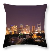 Nashville Night Scene Throw Pillow