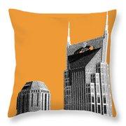 Nashville Skyline At And T Batman Building - Orange Throw Pillow