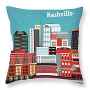 Nashville Tennessee Horizontal Skyline Throw Pillow