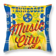 Nashville Tennessee Poster Throw Pillow
