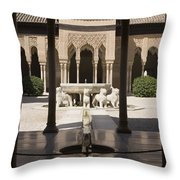 Nasrid Palaces Alhambra Granada Spain Europe Throw Pillow
