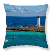 Nassau Harbor Lighthouse Throw Pillow