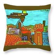 Nassau Fruit Seller At Waterside Throw Pillow