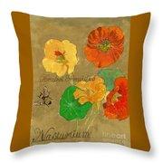 Nasturtiums With Bumble Bee Throw Pillow