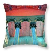 National Columns Blue Throw Pillow
