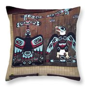 Native Alaskan Mural Throw Pillow