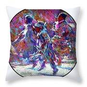 Native American - 3 Young Children Pow Wow Dancing Throw Pillow