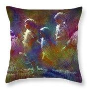 Native American - 5 Girls Dancing In The Moonlight Throw Pillow