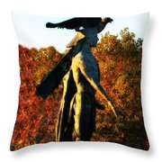 Native American And Eagle Throw Pillow