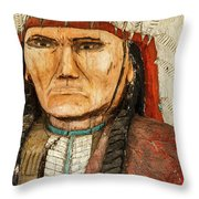 Native American Chief With Pipe Throw Pillow
