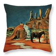 Native American Hogan Throw Pillow