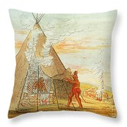 Native American Indian Sweat Lodge Throw Pillow by Science Source