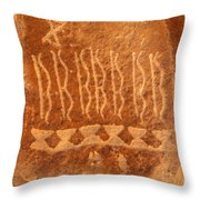 Native American Petroglyph On Orange Sandstone Throw Pillow