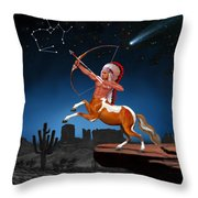 Native American Sagittarius Throw Pillow