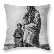 Native American Squaw And Child Throw Pillow