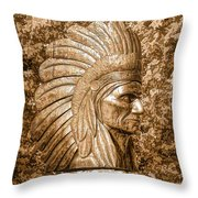 Native American Statue Copper  Throw Pillow