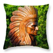 Native American Statue Throw Pillow