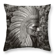 Native American Statue Monochrome Throw Pillow