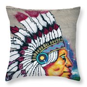 Native American Wall Mural Cheyenne Wyoming Throw Pillow