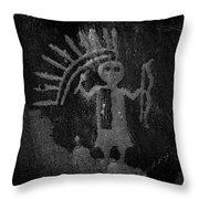 Native American Warrior Petroglyph On Sandstone Throw Pillow