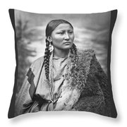 Native American Woman War Chief Pretty Nose Throw Pillow