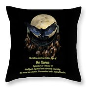 Native American Zodiac Sign Of The Raven Throw Pillow