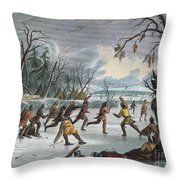 Native Americans: Ball Play, 1855 Throw Pillow