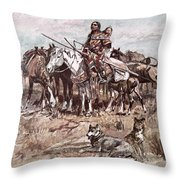Native Americans Plains People Moving Camp Throw Pillow