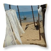 Native Beach Scene Throw Pillow
