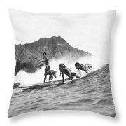 Native Hawaiians Surfing Throw Pillow