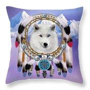 Native Indian Wolf Spirit Throw Pillow