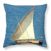 Native Sail Boat Throw Pillow
