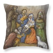 Nativity Throw Pillow by Walter Lynn Mosley