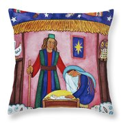 Nativity With Angels Throw Pillow
