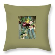 Natura Morta Con Rose Giovanni Boldini Throw Pillow