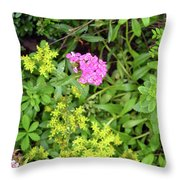 Natural Background With Vegetation And Purple Flowers. Throw Pillow